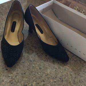 """Black heels 2.5"""" embroidered rhinestones like new"""